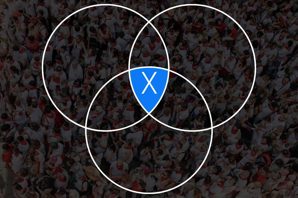 Online-Vertriebsberatung Zielgruppen definieren | Das Bild zeigt im Hintergrund eine gleich gekleidete Menschenmenge. Im Vordergrund sind drei Kreise so angeordnet, dass sich 4 Schnittmengen bilden. Für die Zielgruppendefinition ist die Schnittmenge X, also jene, wo alle Kreise eine gemeinsame Fläche bilden. Zielgruppe definieren = X