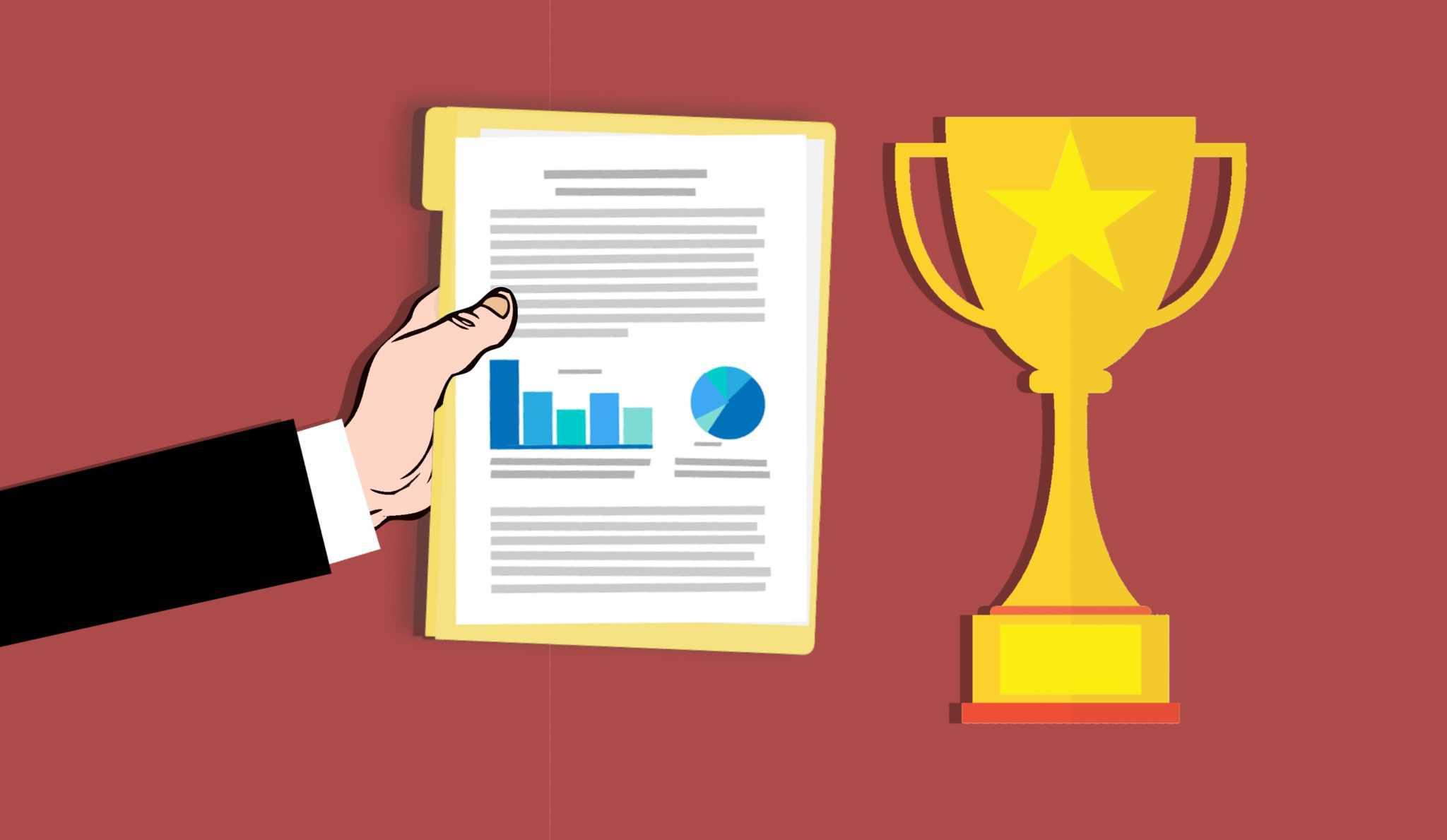 Online-Vertriebsberatung Vertriebsziele definieren | Das Bild zeigt ein Klemmbrett mit einer Analyse und einem Pokal, der als Sinnbild für Erfolg steht