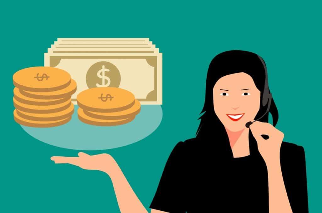 Eine Frau die Kaltakquise betreibt und dadurch Geld verdient, weil Sie neue Kunden gewinnt