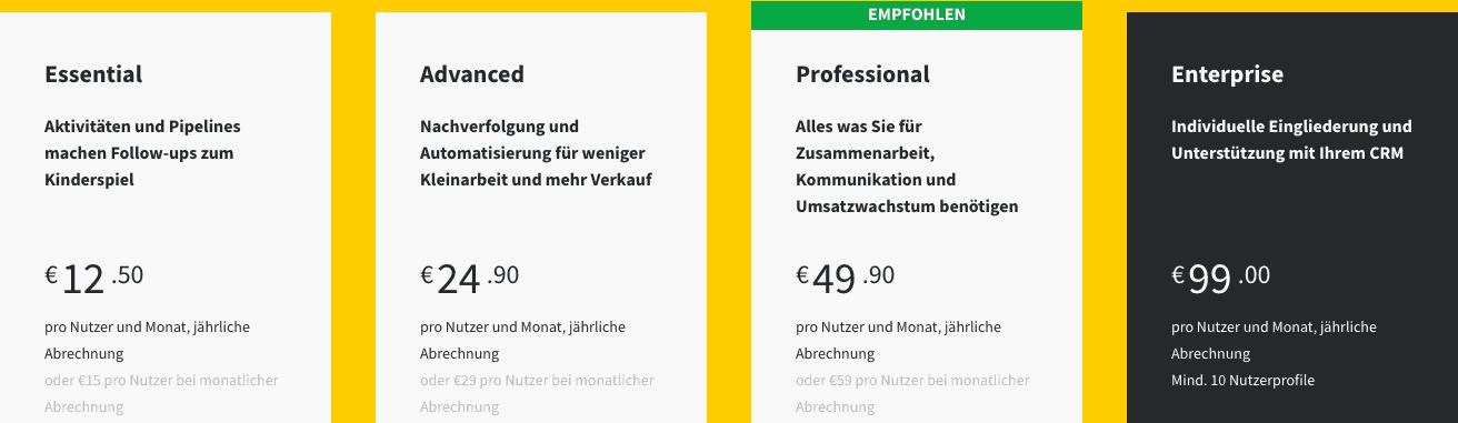 Online-Vertriebsberatung Pipedrive Pricing
