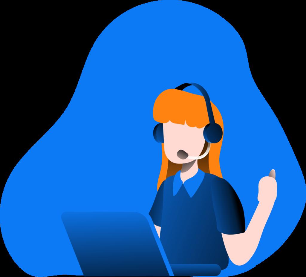 Online-Vertriebsberatung | Kundenansprache - Eine Verkäuferin, die über das Headset mit einem Kunden spricht