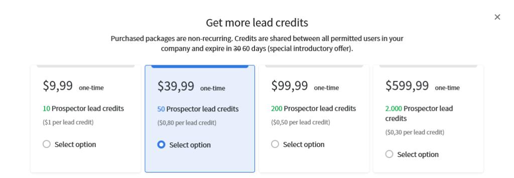 Online-Vertriebsberatung - Prospektor Datensätze mit Credits kaufen