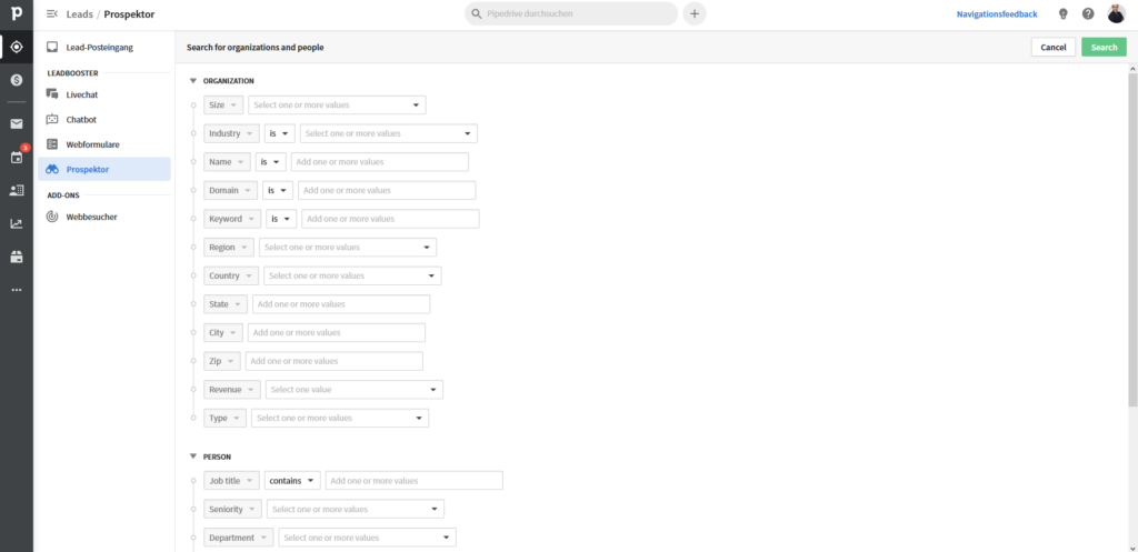Online-Vertriebsberatung - Lead Datenbank Prospektor von Pipedrive mit 400 Millionen Kundenadressen