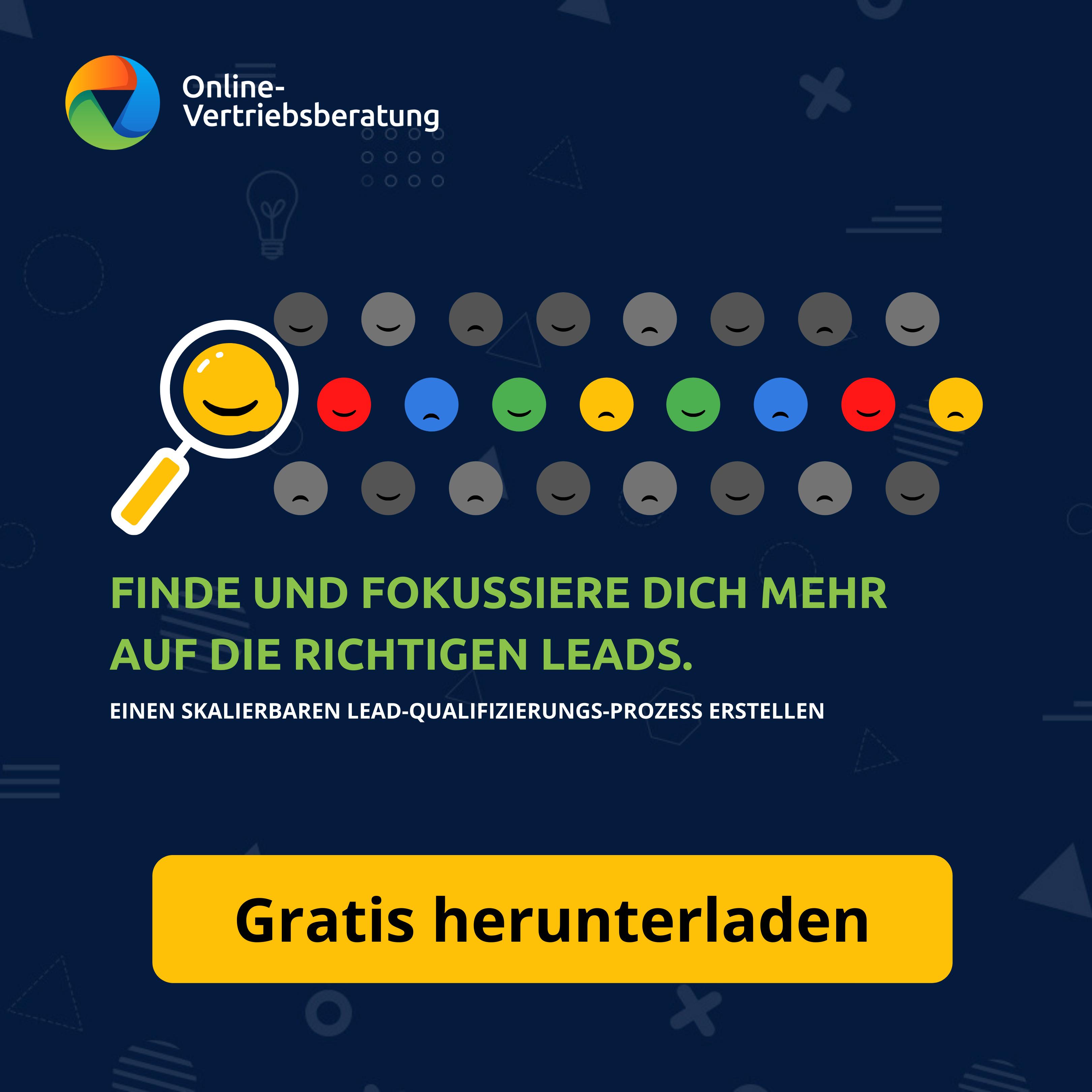 Online-Vertriebsberatung | Lead Qualifizierungsprozess - E-Book: Finde und fokussiere dich mehr auf die richtigen Lead und erstelle eine skalierbaren Lead Qualifizierungsprozess