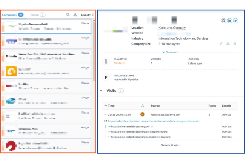 Online-Vertriebsberatung - Leads identifizieren mit Leadfeeder. Metainformationen über Webseitenbesucher.