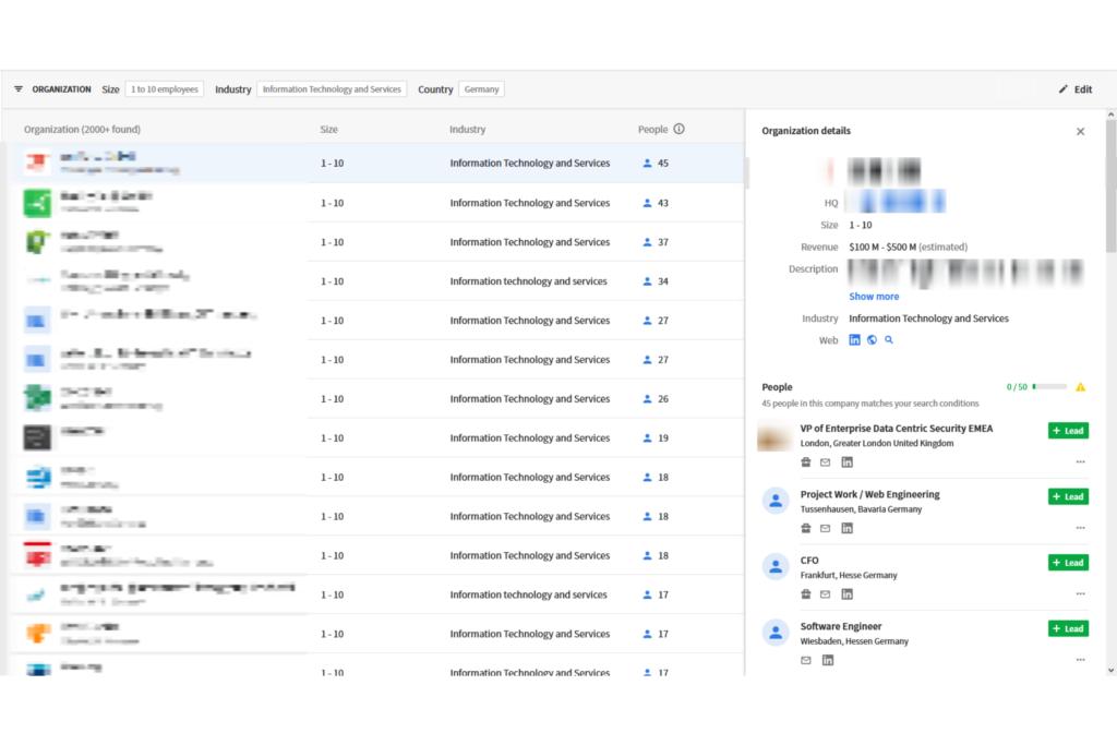 Online-Vertriebsberatung - ausgewahlter Lead aus der Suche der Lead Datenbank