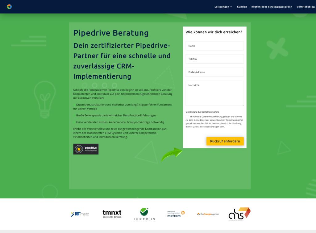 online vertriebsberatung pipedrive beratung mit kundenlogos 1