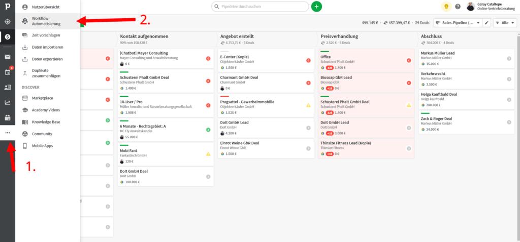 Online-Vertriebsberatung - Pipedrive Workflow Automatisierung bauen