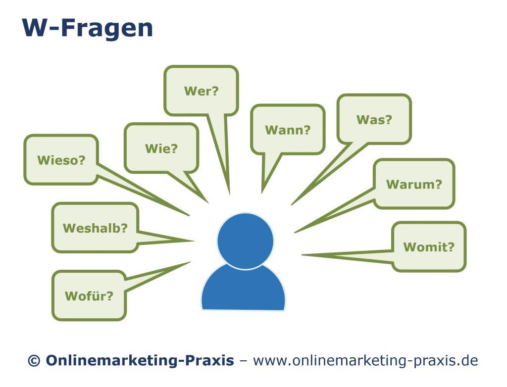 Online-Vertriebsberatung: Bild von www.onlinemarketing-praxis.de über die W-Fragen